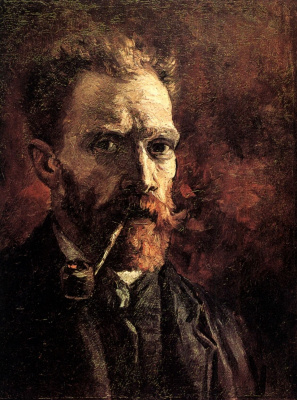 Vincent van Gogh. Self-portrait with a pipe