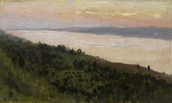 Isaac Levitan. Evening. Golden Plyos. Sketch for the eponymous painting