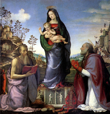 Mariotto Albertinelli. Madonna and child with saints Jerome and Zenobia