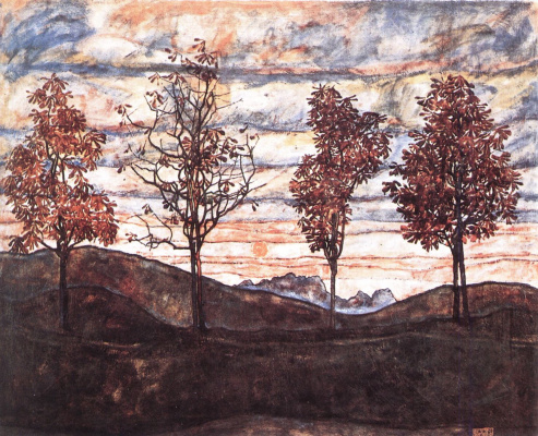 Egon Schiele. Four trees