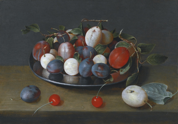Jakob van Hülsdonk. Still life with plums on a plate