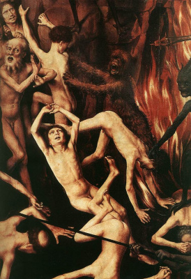 Hans Memling. Judgment. Triptych. Right wing: the overthrow of the sinners in hell. Fragment