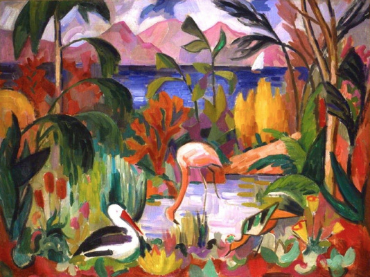 Jean Metzinger. Landscape with colorful waterfowl