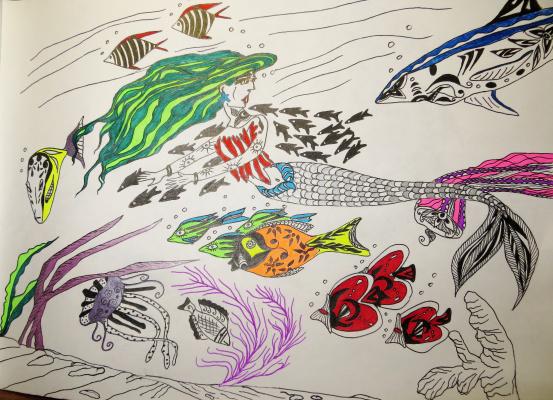 "Николай Николаевич Оларь. Series of stylized drawings: ""Underwater fantasy"" (22)"