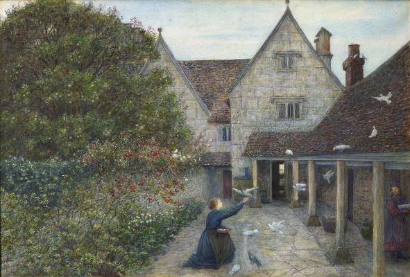 Мария Евфросина Спартали Стиллман. Kelmscott Manor: feeding pigeons in the kitchen yard