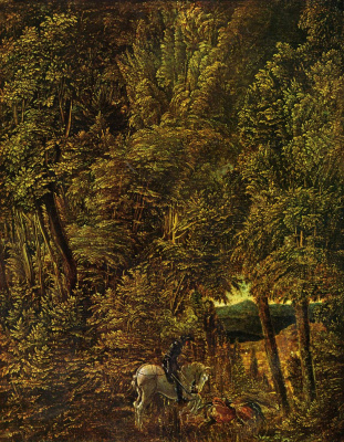 Albrecht Altdorfer. Forest landscape with St. George striking a dragon