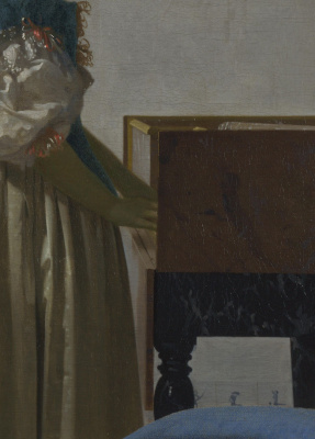 Jan Vermeer. The lady standing at virginal. Fragment
