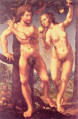Ян Госсарт. Адам и Ева в раю