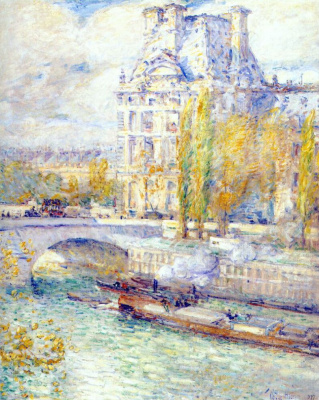 Childe Hassam. The Louvre and the Royal bridge