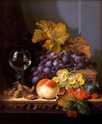 Эдвард Ладелл. Натюрморт с фруктами, орехами и бокалом