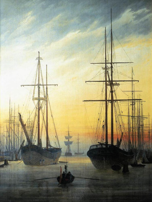Caspar David Friedrich. Harbor view