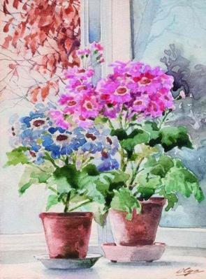 Olga Alexandrovna Romanova. The flowers on the window