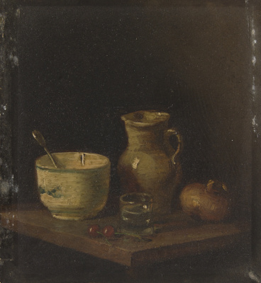 Still life with a clay jug, a bowl and vegetables
