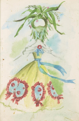 "Dorothea Tunning. Weaver. Costume design for the ballet ""Night shadow"""