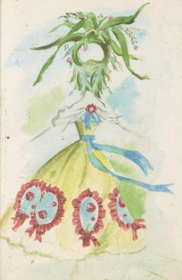 """Доротея Таннинг. Ткачиха. Дизайн костюма для балета """"Ночная тень"""""""
