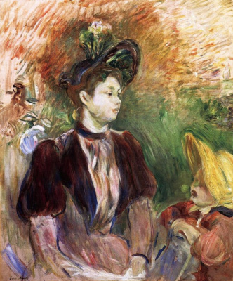 Berthe Morisot. Young woman with child, Avenue Bois
