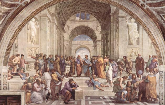 Станца делла Сеньятура в Ватикане. Настенная фреска. Афинская школа
