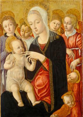 Маттео ди Джованни. Мадонна с младенцем среди Ангелов и Херувимов