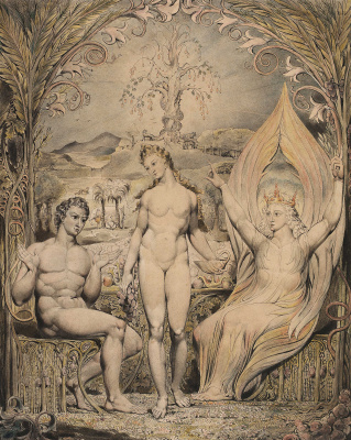"William Blake. Raphael warns Adam and eve. Illustration to the poem of Milton's ""Paradise Lost"""
