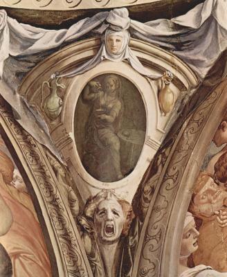 Аньоло Бронзино. Фрески капеллы Элеоноры Толедской в Палаццо Веккио во Флоренции, медальоны, сцены: аллегории добродетелей кардинала. Деталь: Юст