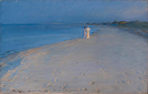 Педер Северин Крёйер. Летний вечер на южном пляже Скагена. Анна Анкер и Мария Крёйер