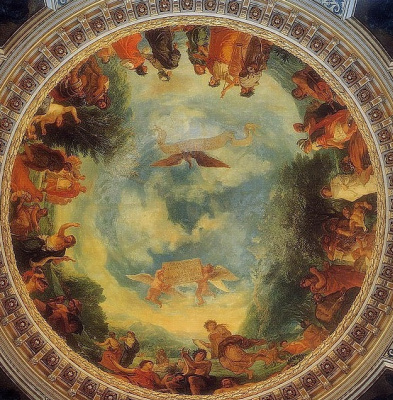 Eugene Delacroix. Aurora, ceiling fresco of the library of the Palais du Luxembourg, France