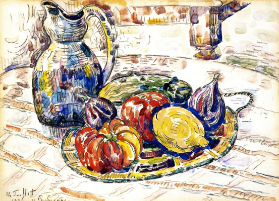 Paul Signac. Still life with fruit and vegetables