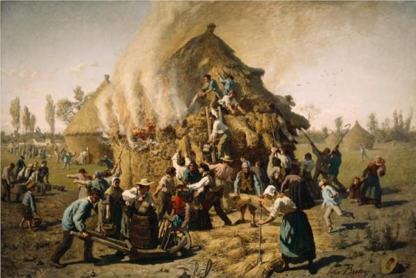 Jules Breton. Fire in the hayloft