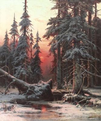 Julius Klever. Winter forest at sunset