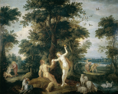 Frans Franken the Younger. The Creation of Eve, the Fall and the Expulsion from Paradise.