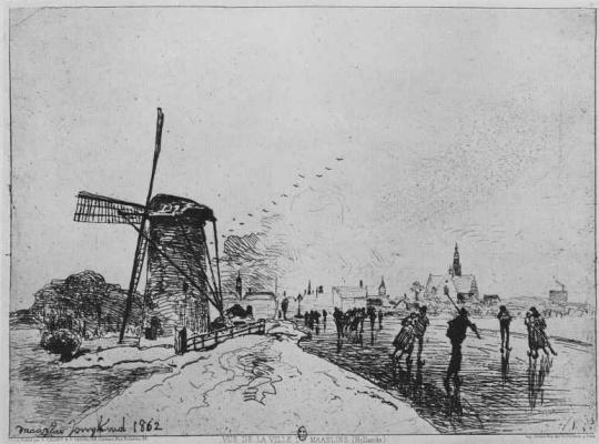 Ian Barthold Jongkinde. View city Maassluis