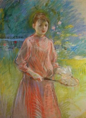 Berthe Morisot. Girl with racket or Jeanne bonnet