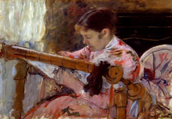 Mary Cassatt. Embroidering Lydia