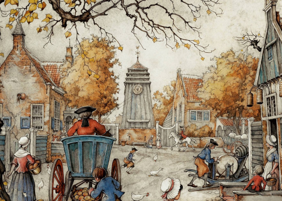 Anton Peak. Street scene in autumn city