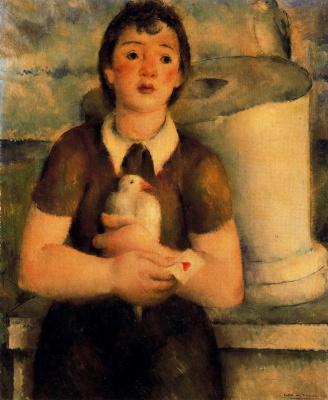 Педро Санчес. Ребенок с птицей