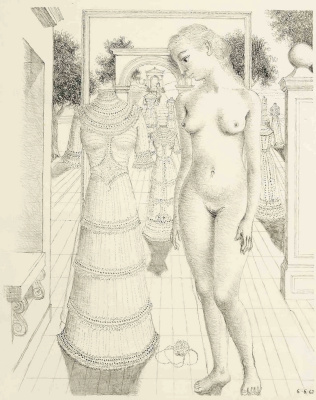 Paul Delvaux Belgium 1897-1994. Sunday dress. 1967