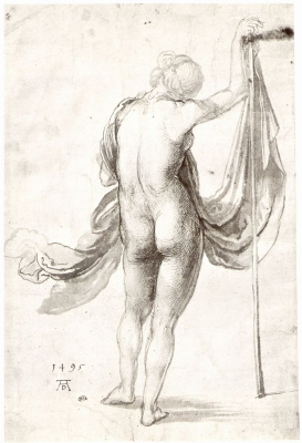 Albrecht Durer. Nude with stick and drape the figure from the back
