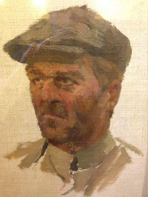 "Марк Иванович Малютин. ""Этюд лесоруба"", 1948г., х. на к./м.40х30"