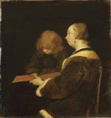 Gerard Terborch (ter Borch). Reading lesson