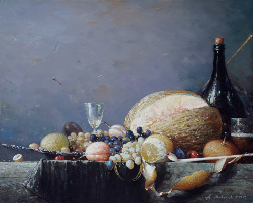 Alexander Victorovich Shevelyov. Dessert.Oil on canvas 40,3 # 50,4 cm 1999