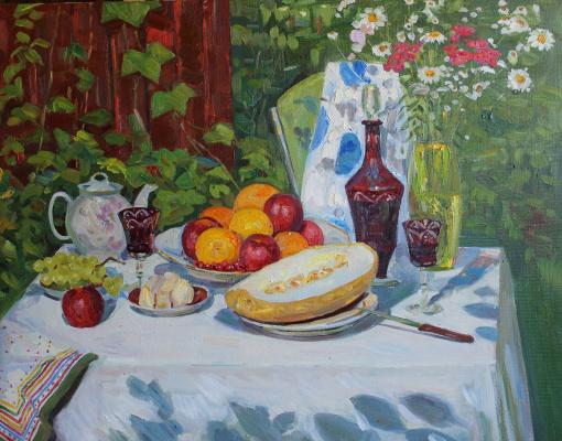 Евгений Александрович Казанцев. Still life of melon and fruit.