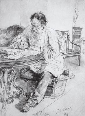 Ilya Efimovich Repin. Leo Tolstoy at work at the round table