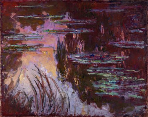 Claude Monet. Water lilies, the sun's effect