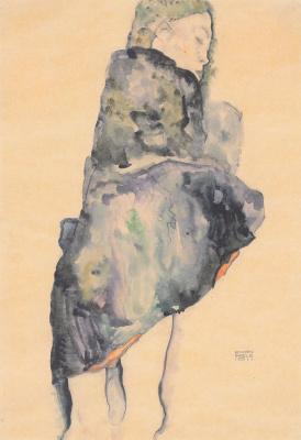Egon Schiele. Sleeping girl, wrapped in a blanket