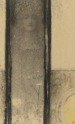 Fernand Knopf. Mystical woman. Cyclamen