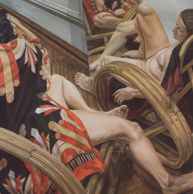 Филипп Перельштейн. Две модели на бамбуковых стульях с зеркалом