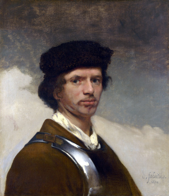 Karel Fabricius. A young man in a fur hat and armor (possibly self-portrait)