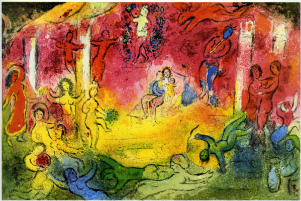 """Marc Chagall. Temple and history of Bacchus. The cycle of """"Daphnis and Chloe"""""""