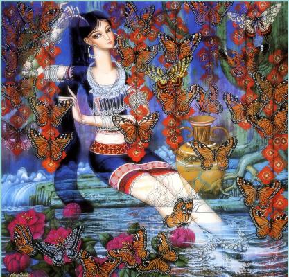 Ван Кунд. Девушка и бабочки