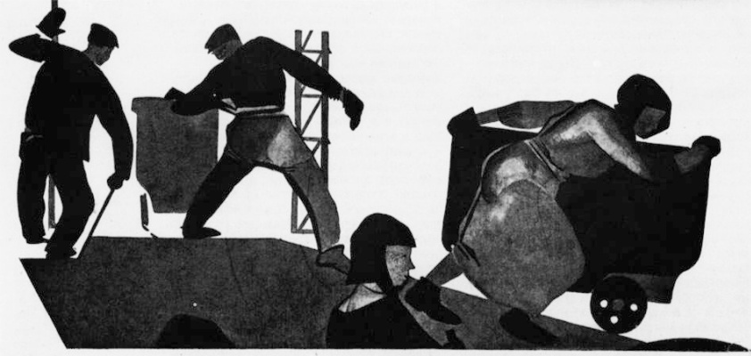 """Alexander Alexandrovich Deineka. Our took. Raise production. Illustration from the magazine """"Atheist at the machine"""" (1924. No. 10)"""